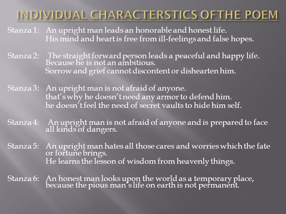 INDIVIDUAL CHARACTERSTICS OFTHE POEM