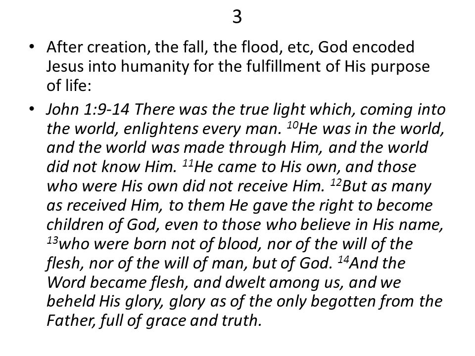 3 After creation, the fall, the flood, etc, God encoded Jesus into humanity for the fulfillment of His purpose of life: