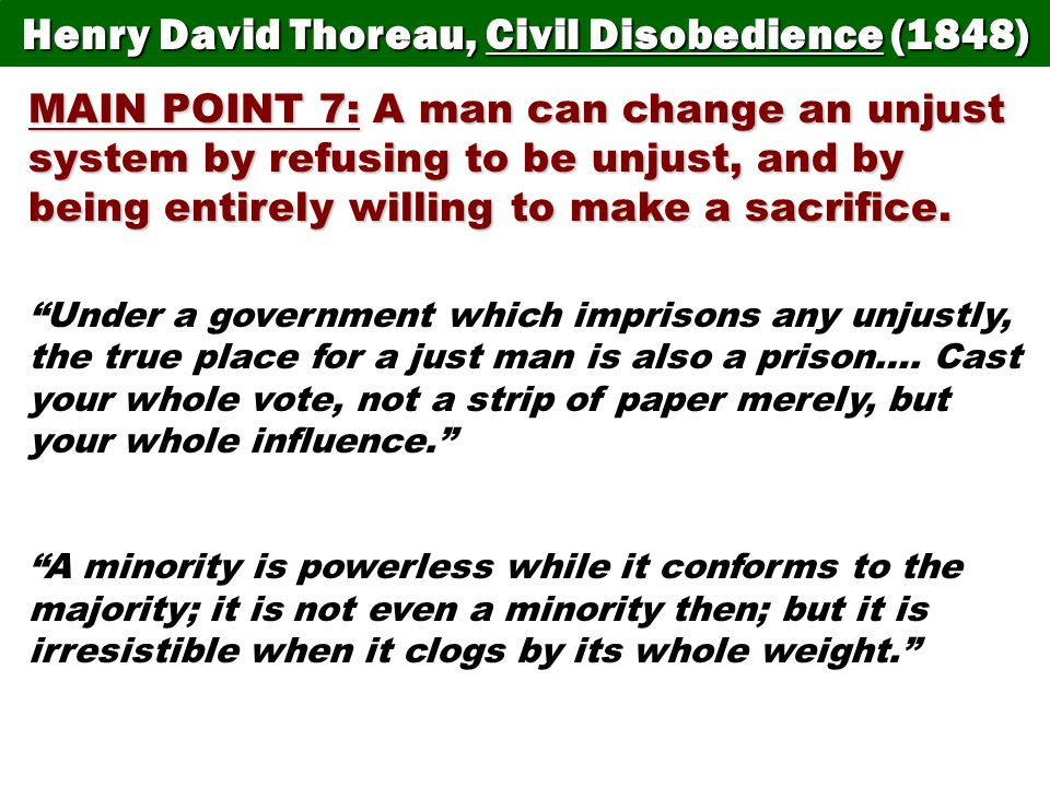 themes individual comparing thoreau s civil disobedience w Civil war era government and politics lesson plans comparing/contrasting students respond to 30 multiple choice questions about thoreau's civil disobedience.