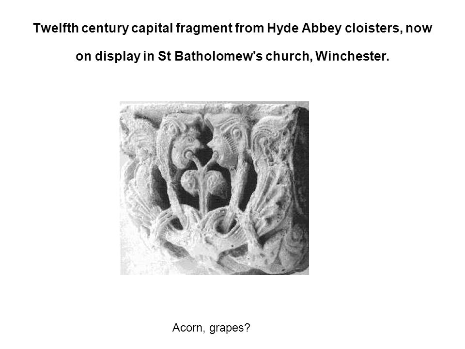 Twelfth century capital fragment from Hyde Abbey cloisters, now on display in St Batholomew s church, Winchester.