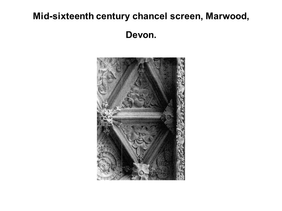Mid-sixteenth century chancel screen, Marwood, Devon.