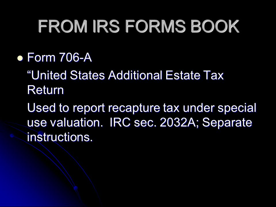 FROM IRS FORMS BOOK Form 706-A