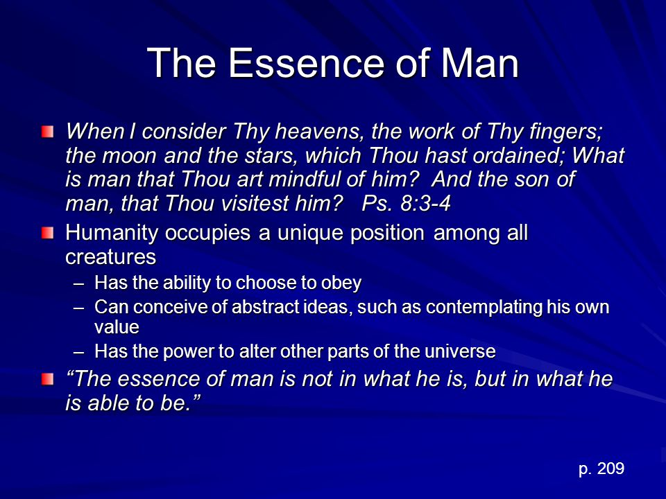 The Essence of Man