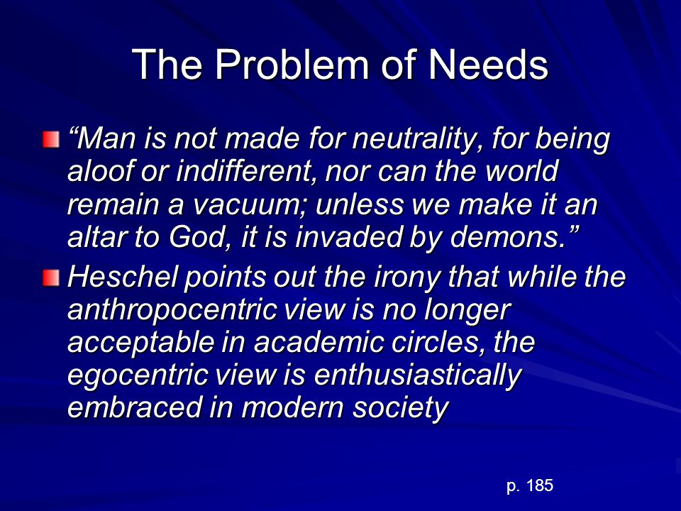 The Problem of Needs