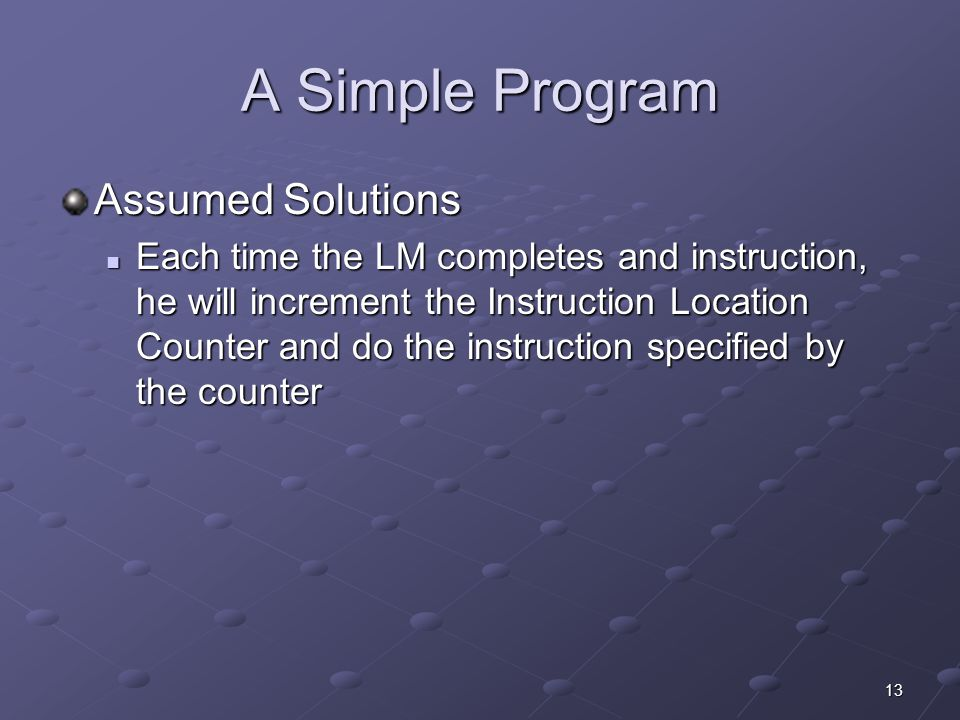 A Simple Program Assumed Solutions