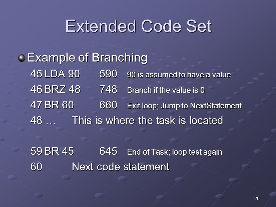 Extended Code Set Example of Branching