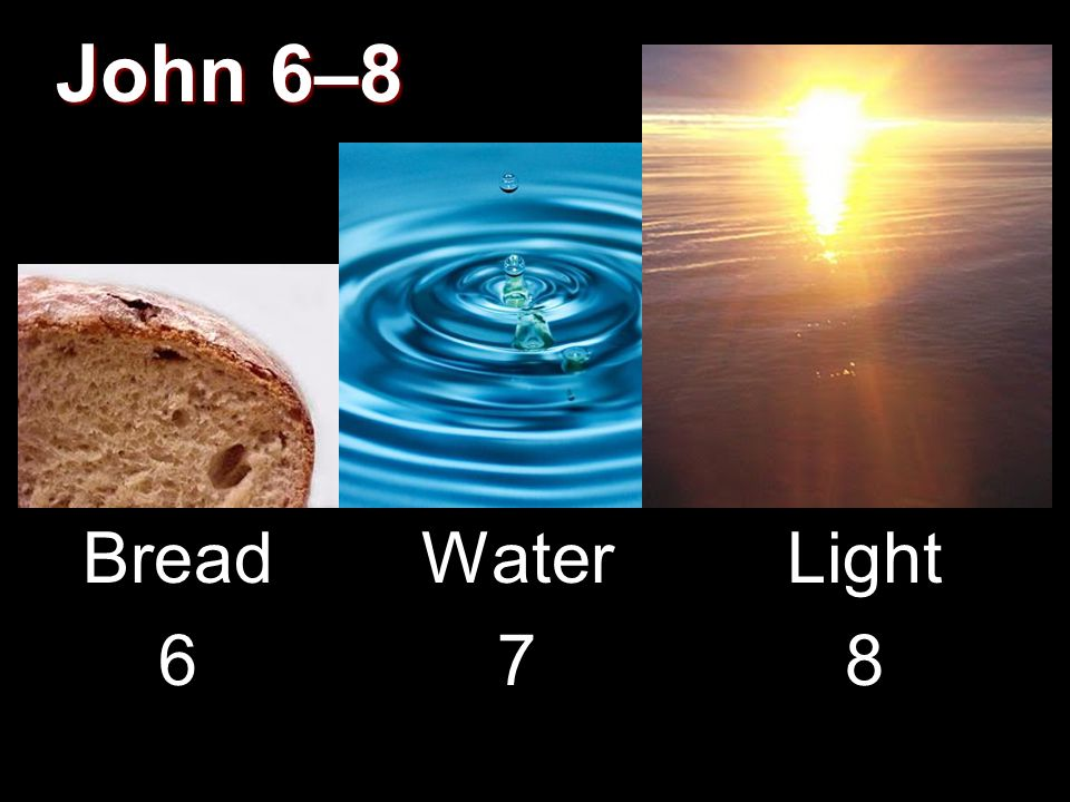 John 6–8 Bread 6 Water 7 Light 8