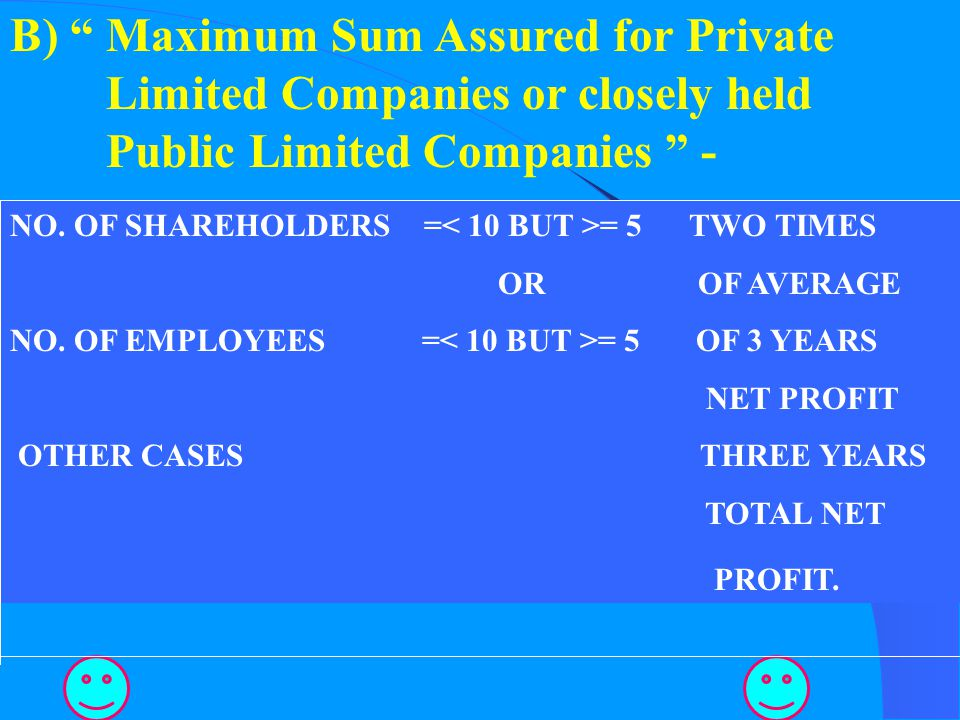 B) Maximum Sum Assured for Private Limited Companies or closely held Public Limited Companies -