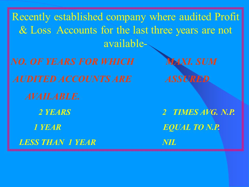 Recently established company where audited Profit & Loss Accounts for the last three years are not available-