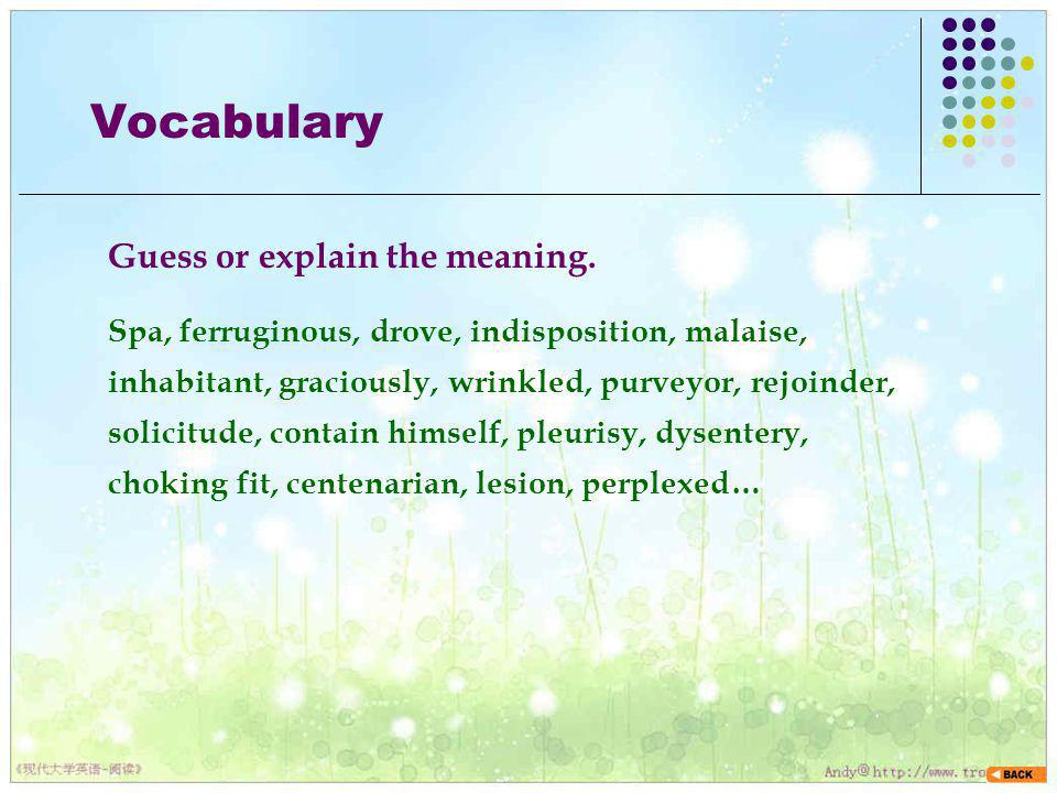 Vocabulary Guess or explain the meaning.