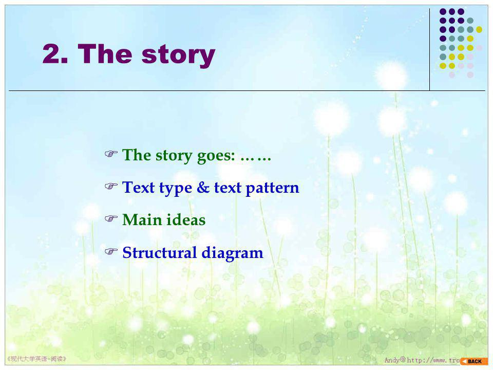 2. The story The story goes: …… Text type & text pattern Main ideas