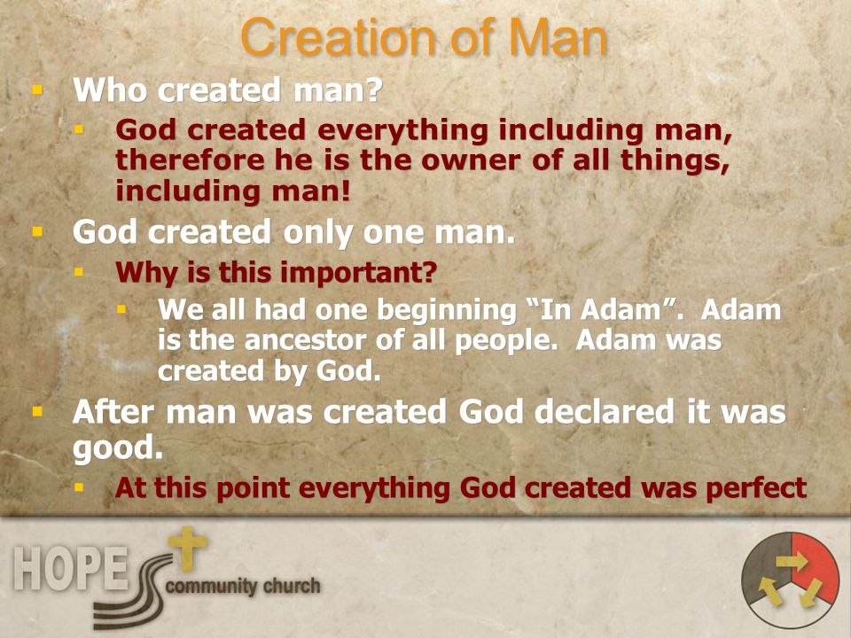 Creation of Man Who created man God created only one man.