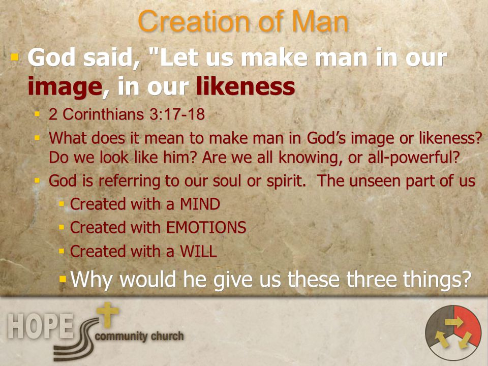 Creation of Man God said, Let us make man in our image, in our likeness. 2 Corinthians 3:17-18.