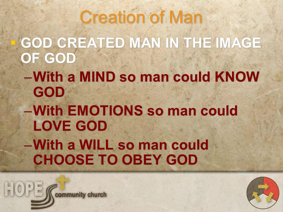 Creation of Man GOD CREATED MAN IN THE IMAGE OF GOD