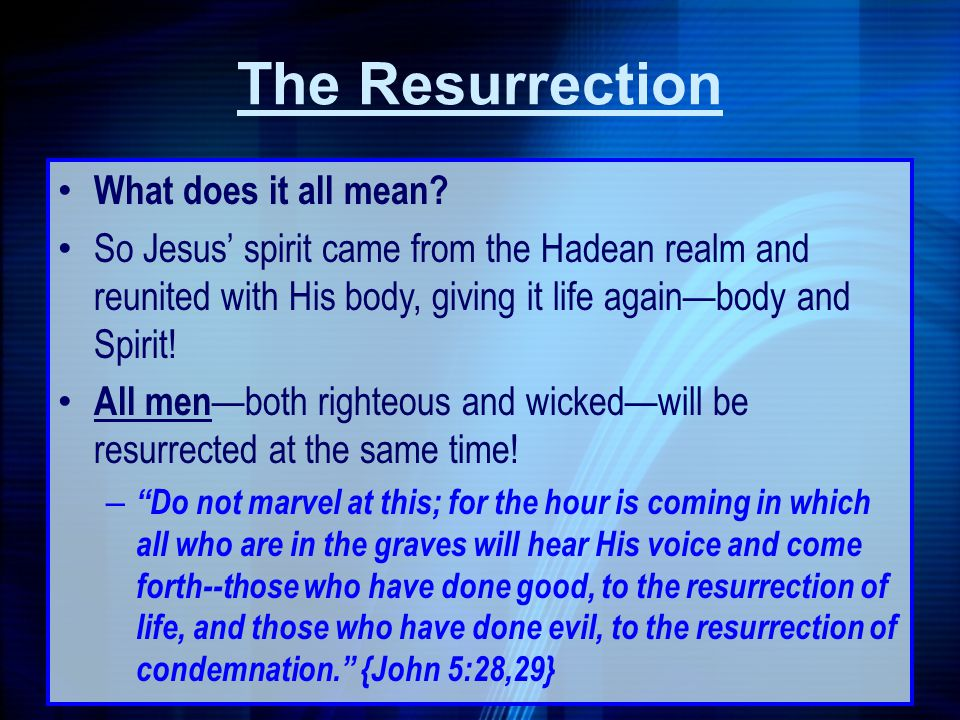 The Resurrection What does it all mean
