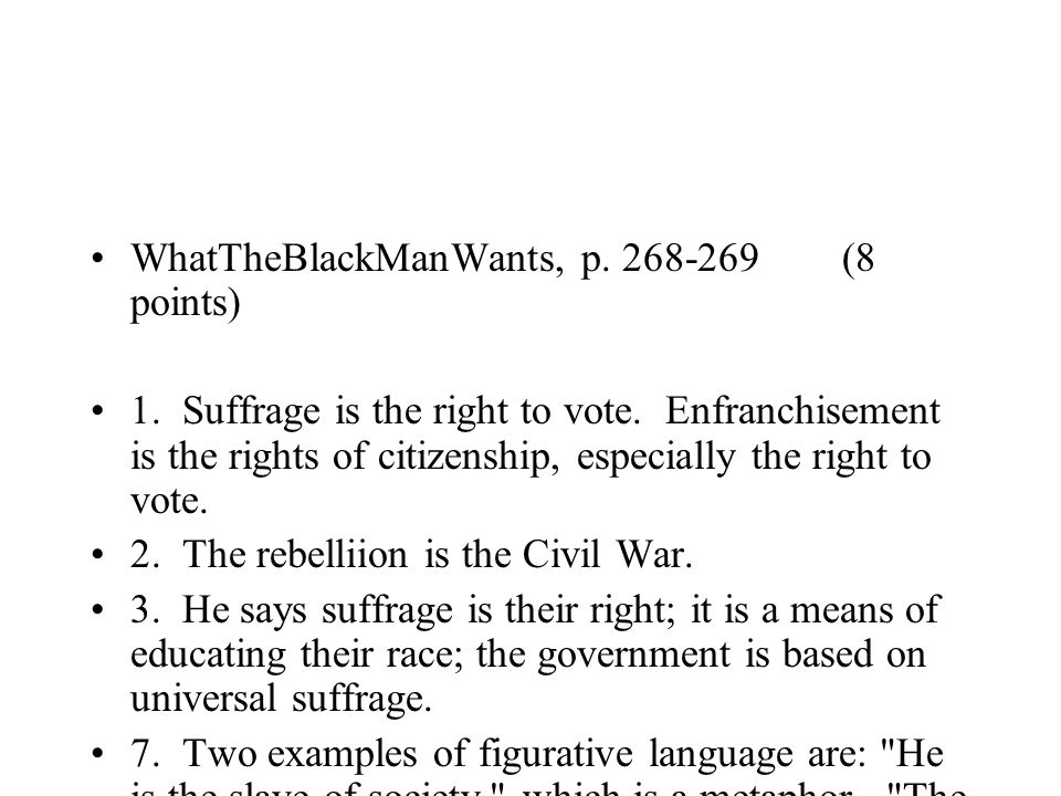 WhatTheBlackManWants, p. 268-269 (8 points)