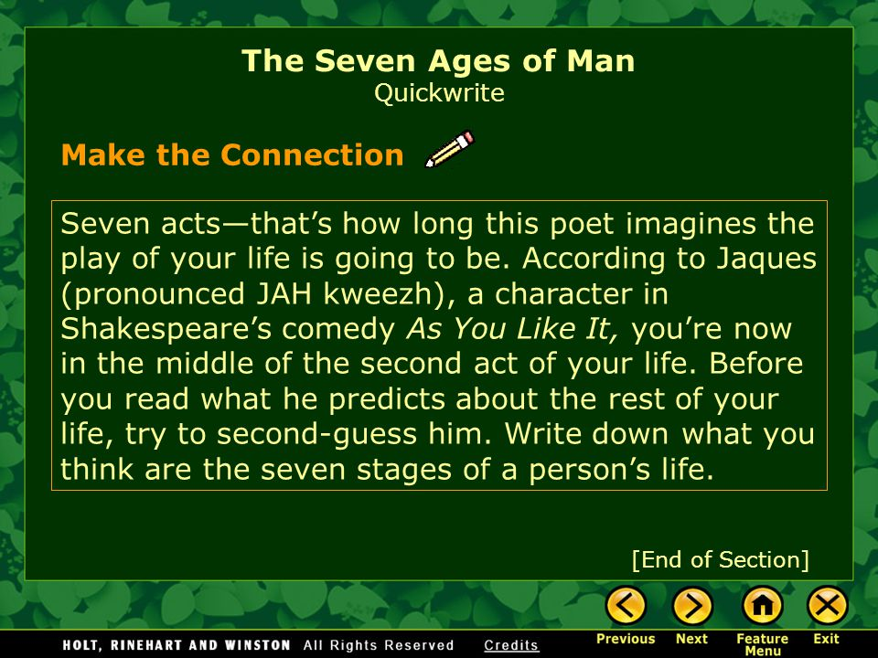 The Seven Ages of Man Quickwrite