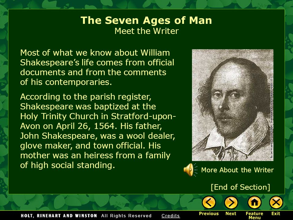 The Seven Ages of Man Meet the Writer