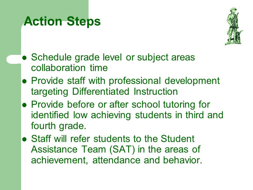 Action Steps Schedule grade level or subject areas collaboration time