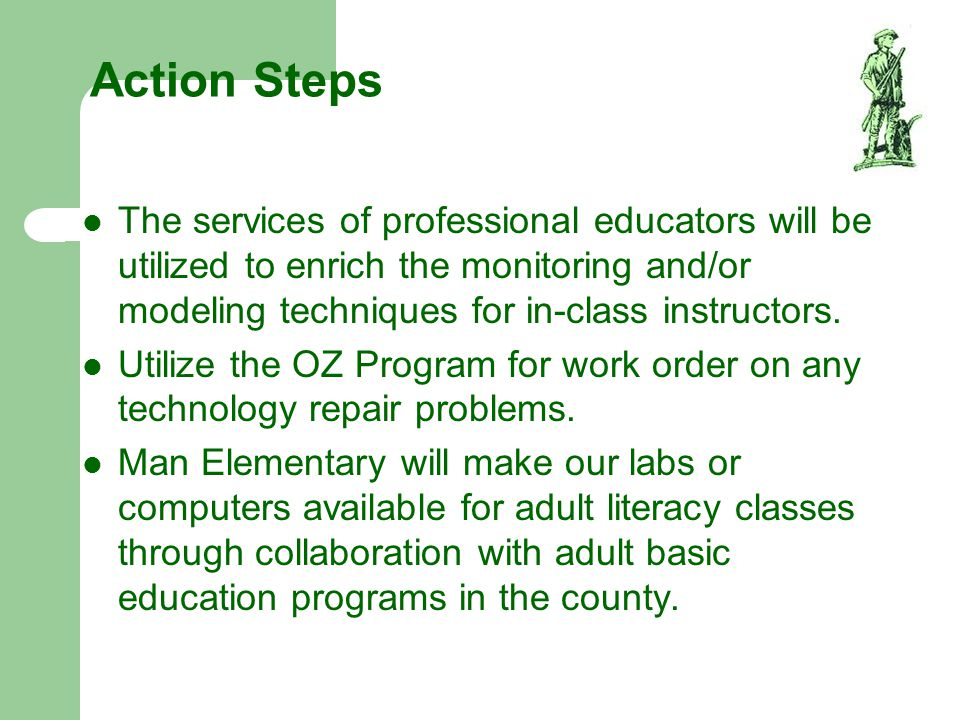 Action Steps The services of professional educators will be utilized to enrich the monitoring and/or modeling techniques for in-class instructors.