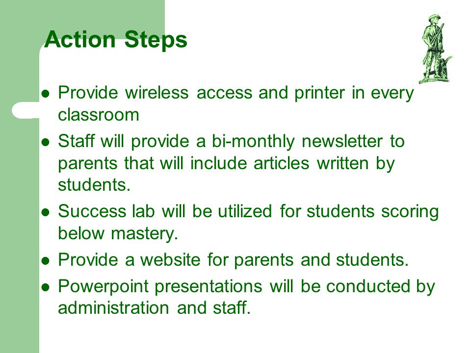 Action Steps Provide wireless access and printer in every classroom
