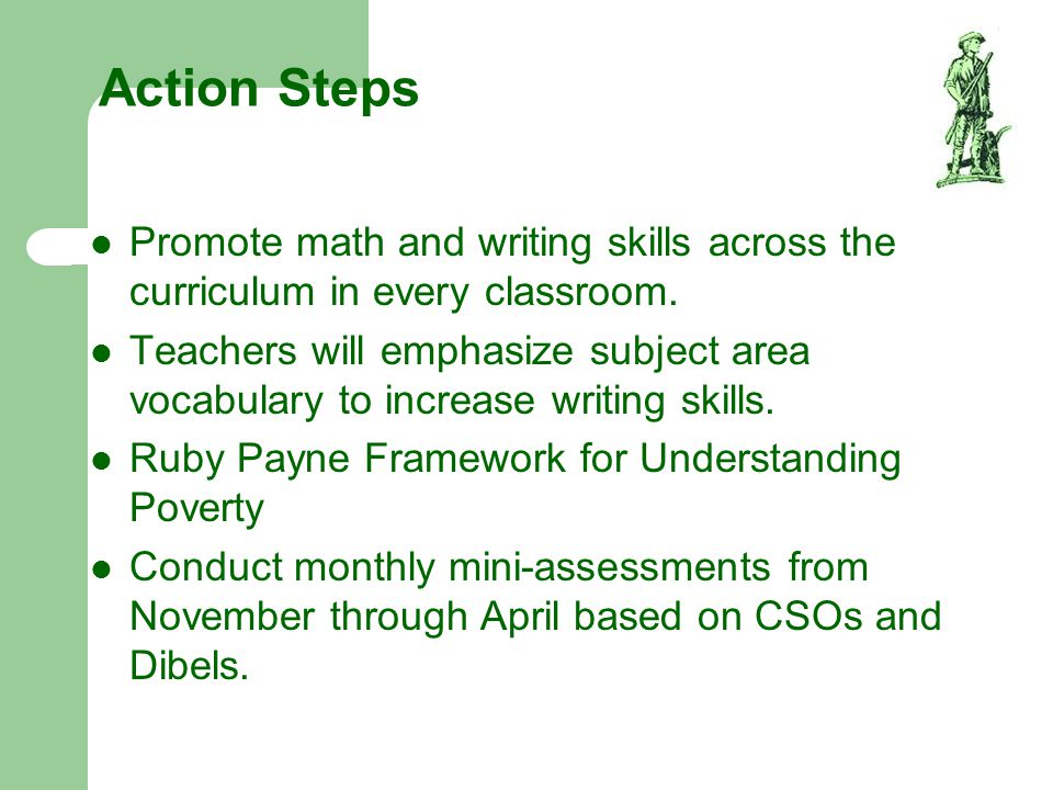 Action Steps Promote math and writing skills across the curriculum in every classroom.