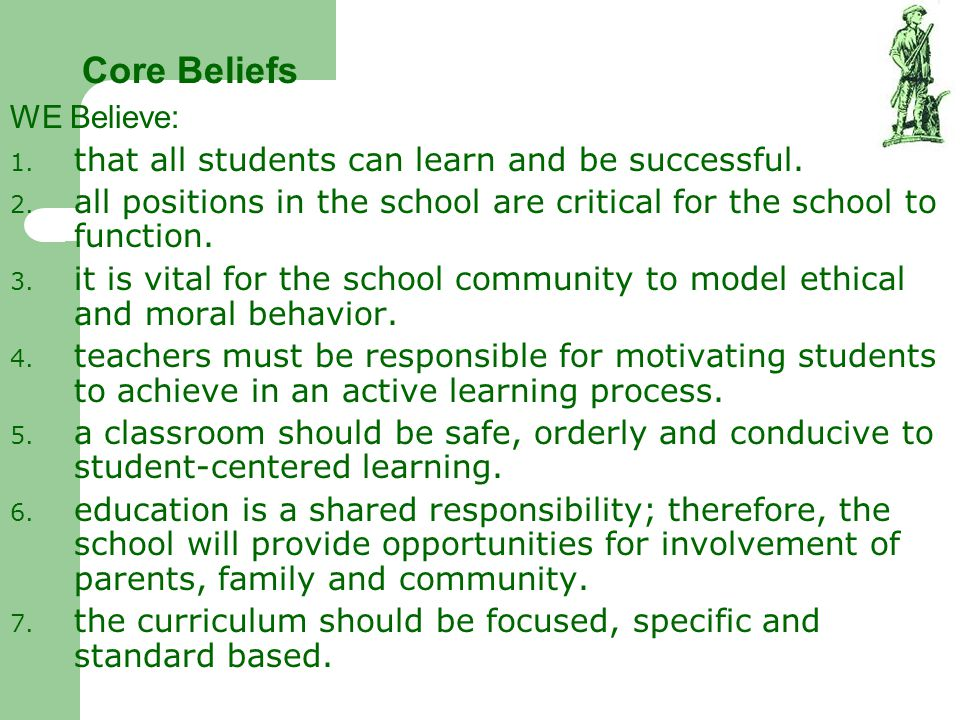 Core Beliefs WE Believe: