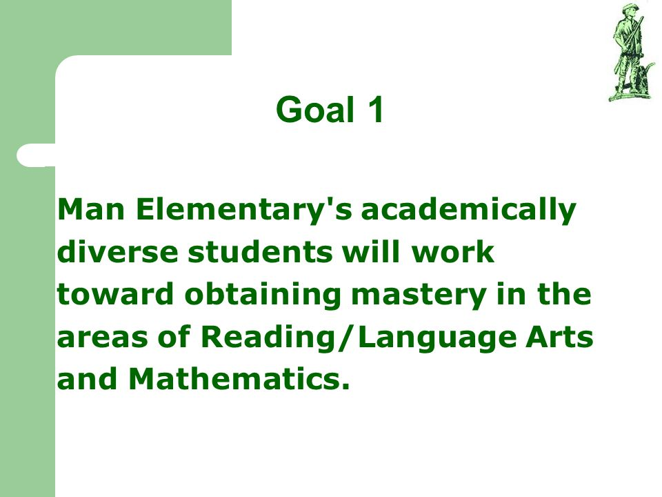 Goal 1 Man Elementary s academically diverse students will work