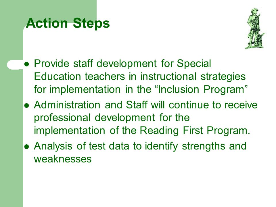 Action Steps Provide staff development for Special Education teachers in instructional strategies for implementation in the Inclusion Program