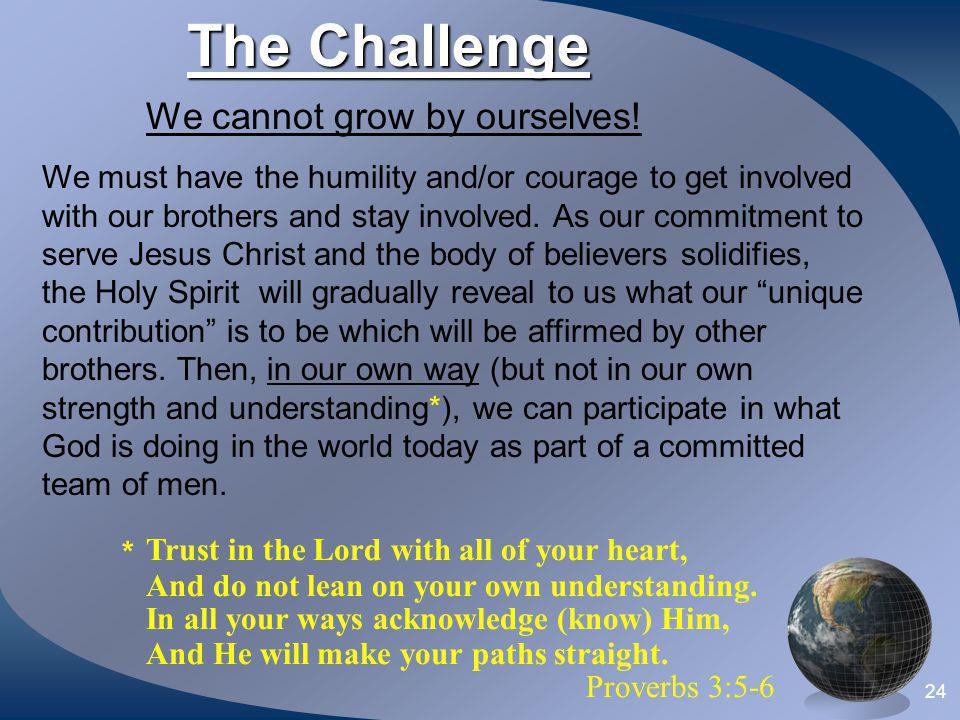 The Challenge We cannot grow by ourselves! Proverbs 3:5-6