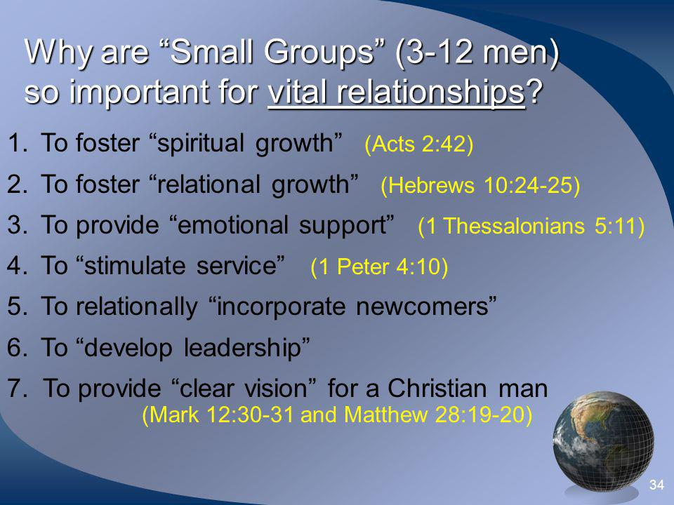 Why are Small Groups (3-12 men) so important for vital relationships