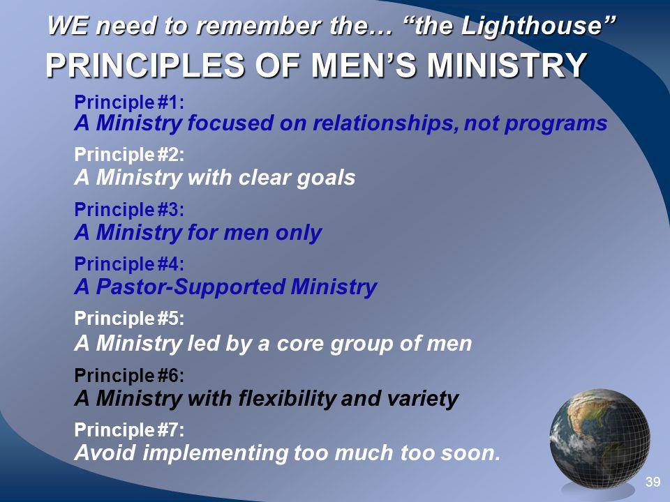 PRINCIPLES OF MEN'S MINISTRY