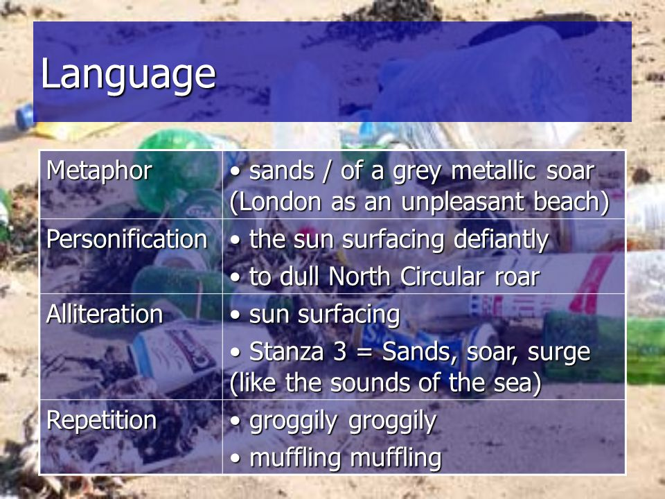 Language Metaphor. sands / of a grey metallic soar (London as an unpleasant beach) Personification.