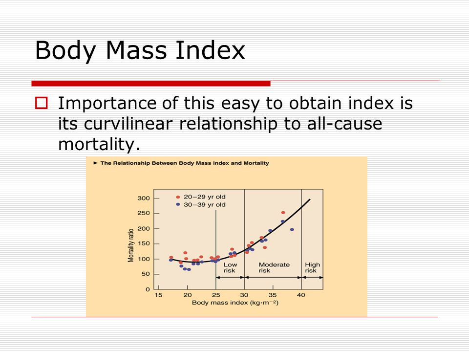Body Mass Index Importance of this easy to obtain index is its curvilinear relationship to all-cause mortality.