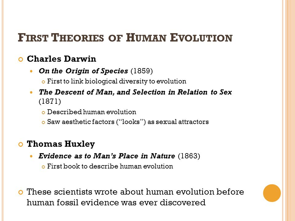 First Theories of Human Evolution