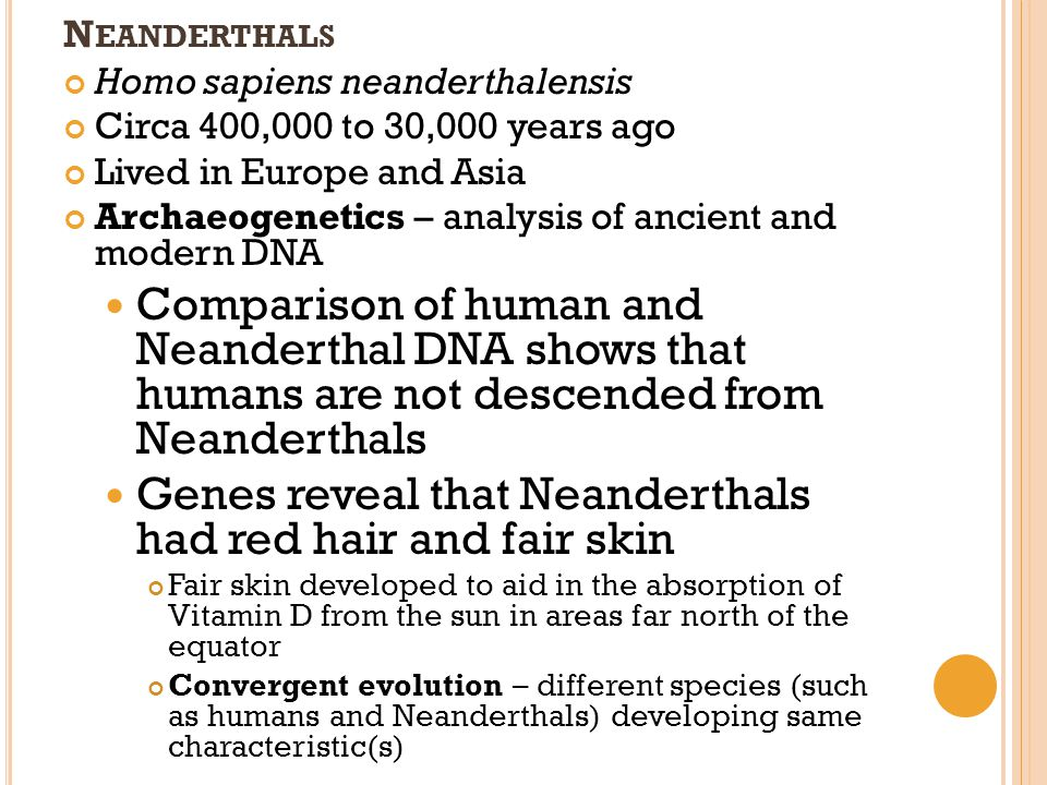 Genes reveal that Neanderthals had red hair and fair skin