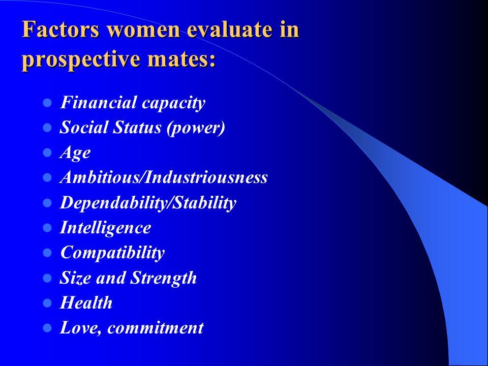 Factors women evaluate in prospective mates: