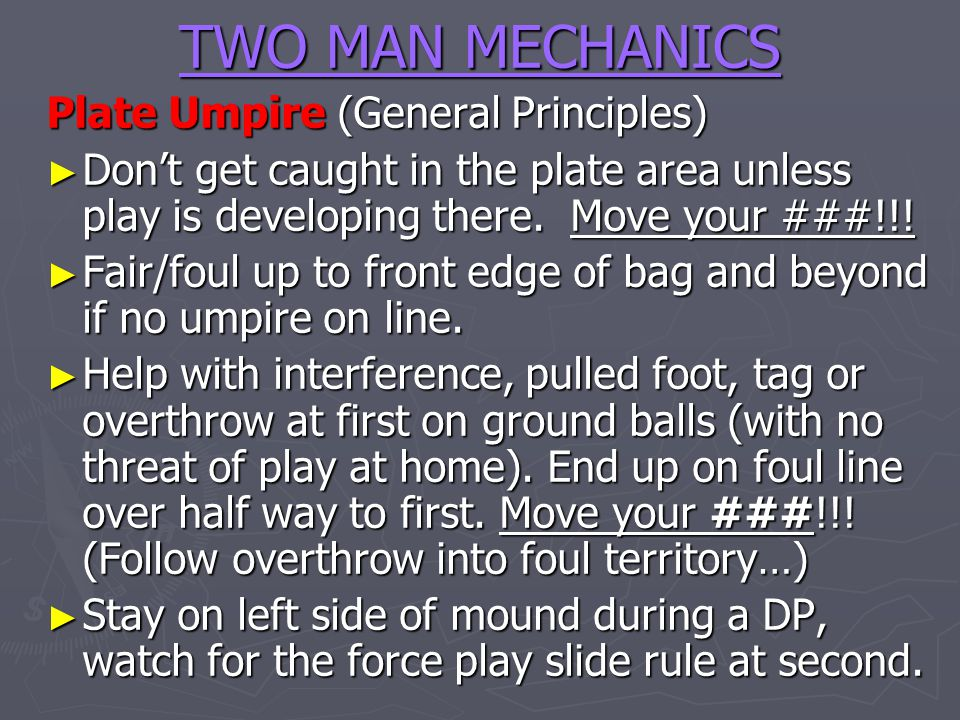 TWO MAN MECHANICS Plate Umpire (General Principles)