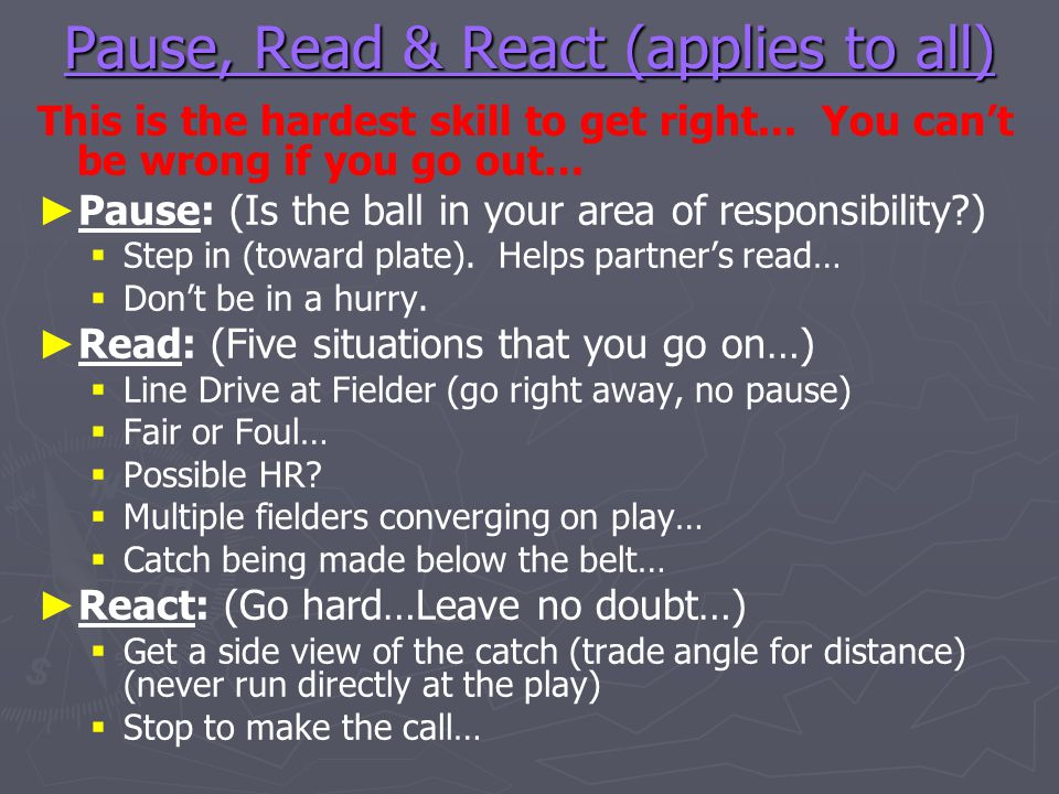 Pause, Read & React (applies to all)