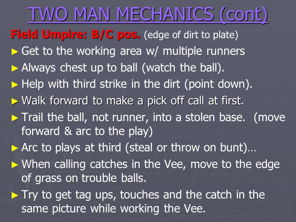TWO MAN MECHANICS (cont)