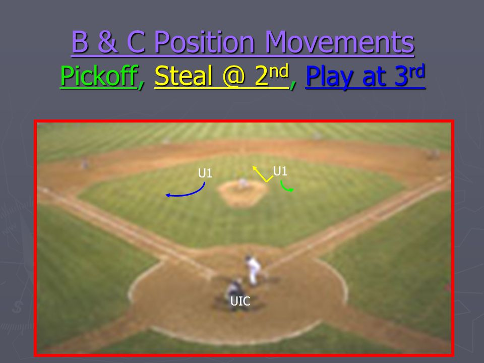 B & C Position Movements Pickoff, Steal @ 2nd, Play at 3rd