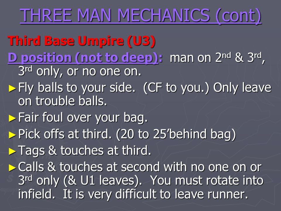 THREE MAN MECHANICS (cont)