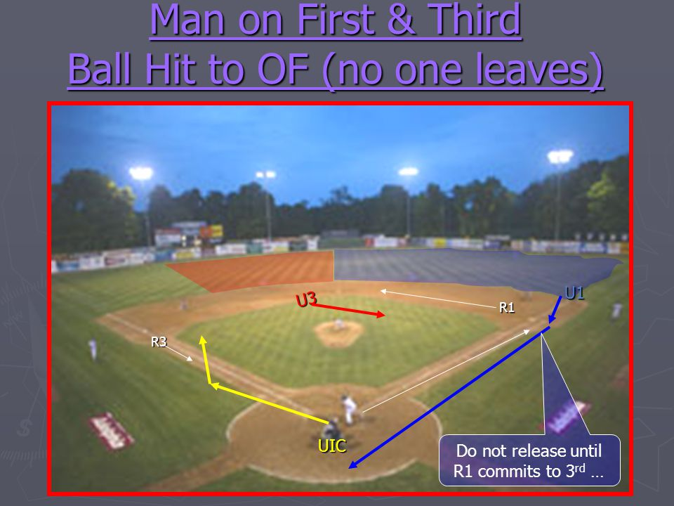 Man on First & Third Ball Hit to OF (no one leaves)