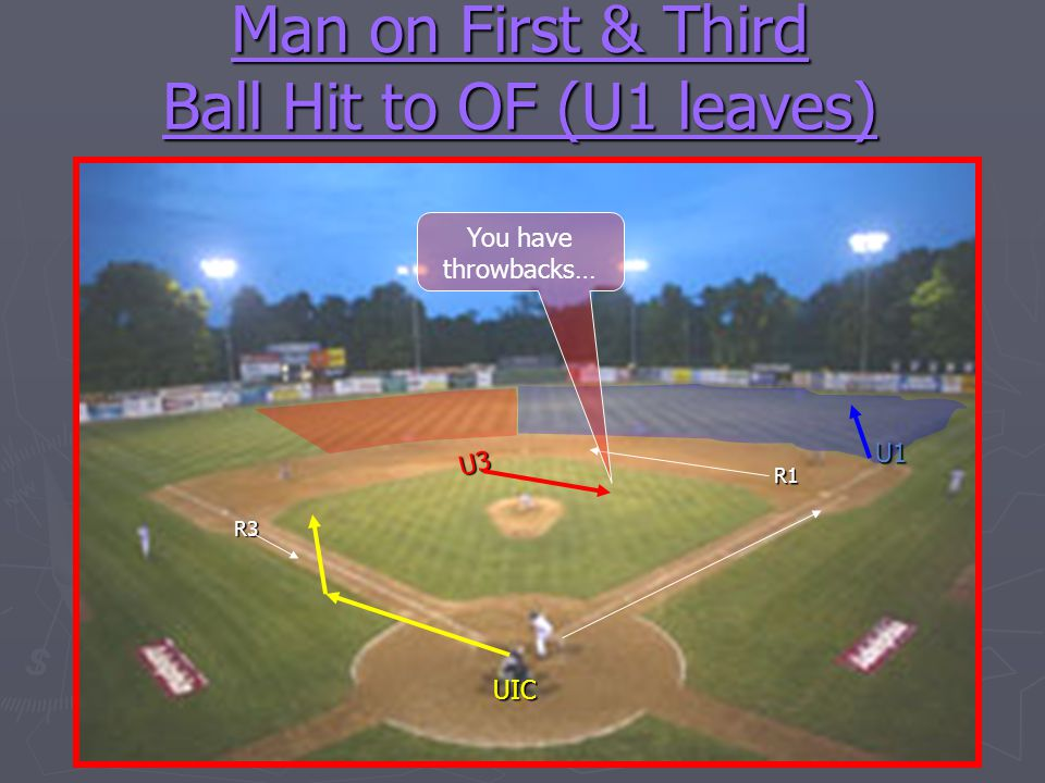 Man on First & Third Ball Hit to OF (U1 leaves)