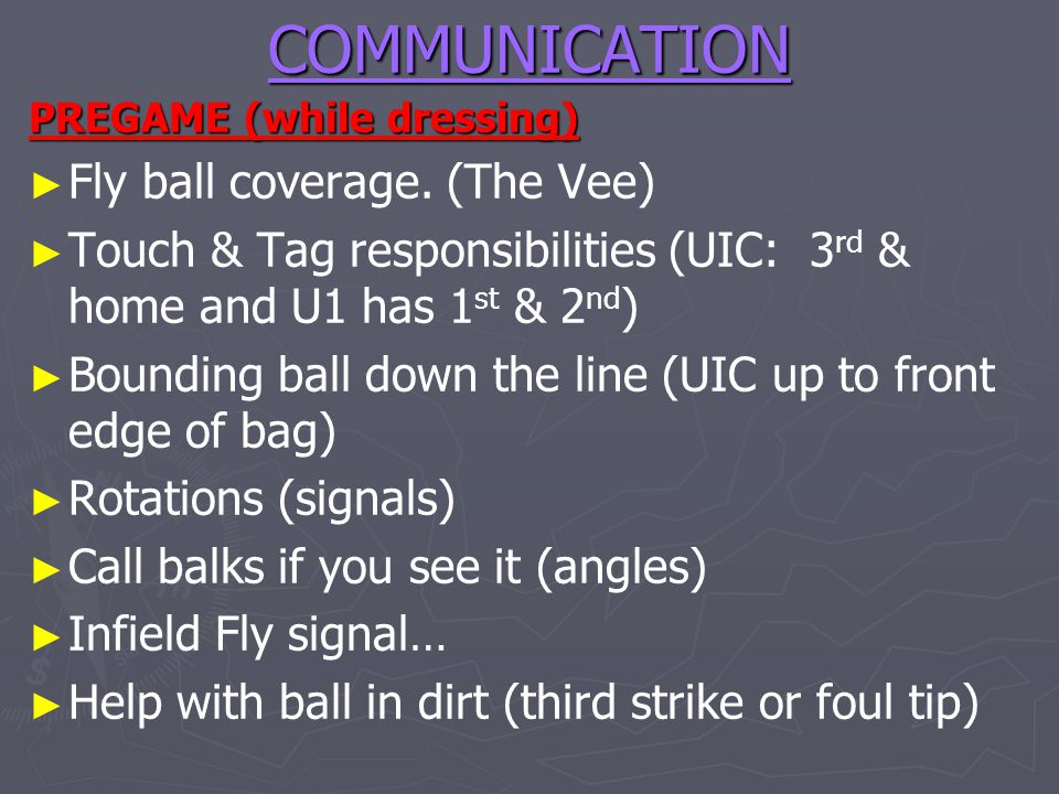 COMMUNICATION Fly ball coverage. (The Vee)