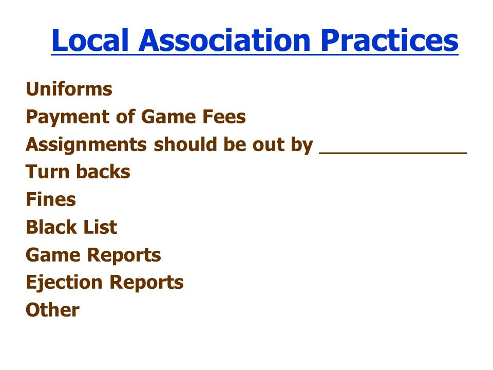 Local Association Practices