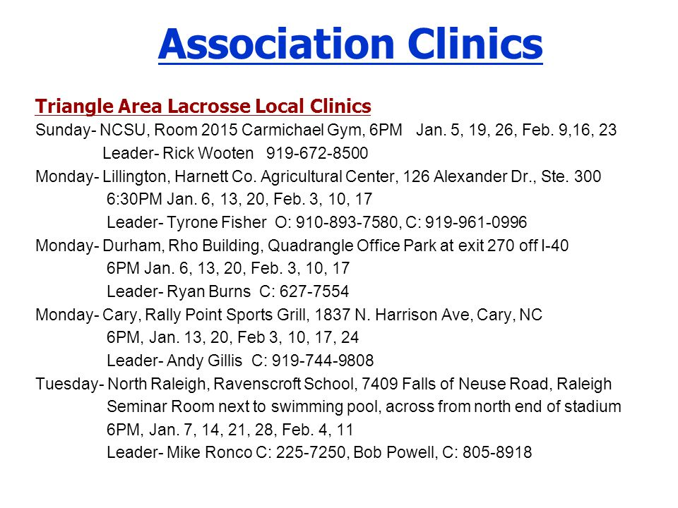 Association Clinics Triangle Area Lacrosse Local Clinics