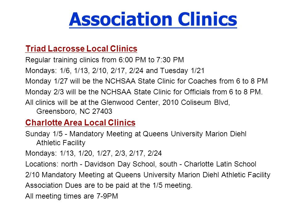 Association Clinics Triad Lacrosse Local Clinics