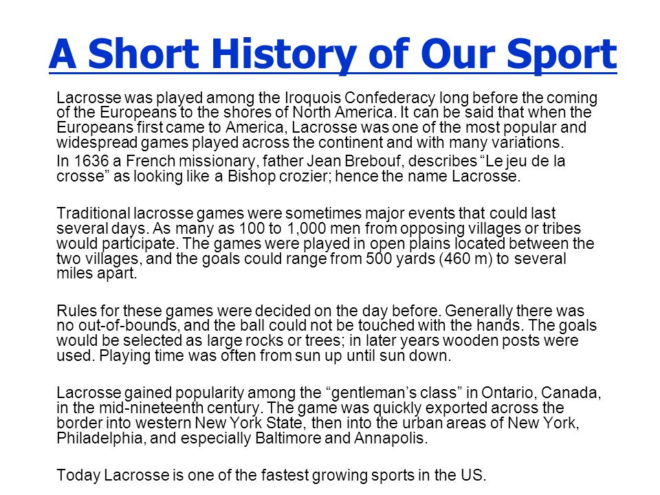 A Short History of Our Sport