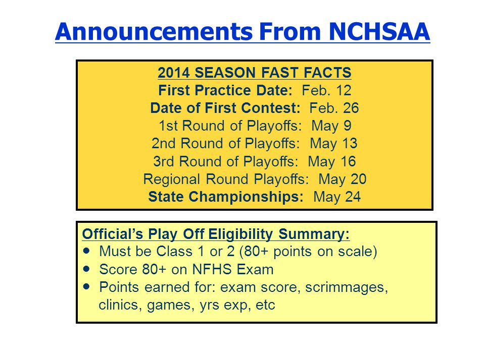 Announcements From NCHSAA